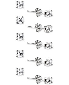 Giani Bernini 5 Pc Set Cubic Zirconia Stud Earrings Created For Macy S