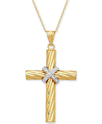 Two tone textured cross pendant necklace in 14k gold white gold image 1 of two tone textured cross pendant necklace in 14k gold white gold aloadofball Gallery