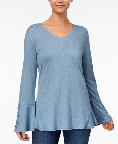 Style & Co Crochet-Trim Flounce Top, Created for Macy's