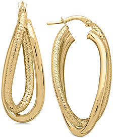 Textured Crossover Hoop Earrings in 14k Gold