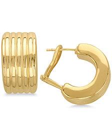 Ridged Huggie Hoop Earrings in 14k Gold
