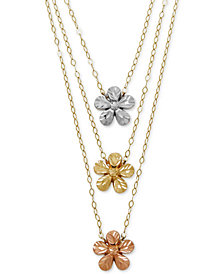 Tri-Color Flower Necklace in 14k Gold