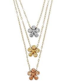 Tri-Color Flower Necklace in 14k Gold