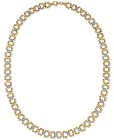 Two-Tone Beaded Link Collar Necklace in 14k Gold & White Gold