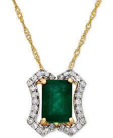 Emerald (1 ct. t.w.) & Diamond (1/8 ct. t.w.) Pendant Necklace in 14k Gold