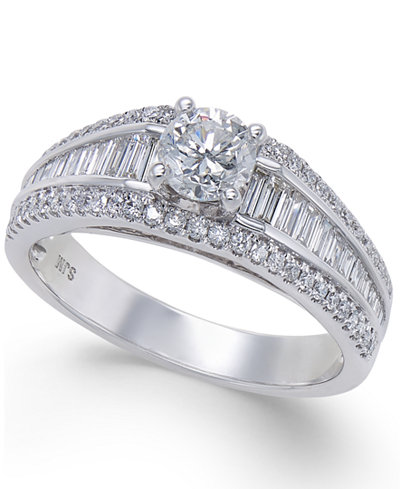 Diamond Baguette Engagement Ring (1 ct. t.w.) in 14k White Gold