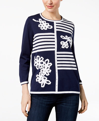 Alfred Dunner Montego Bay Striped Rhinestone-Embellished Sweater