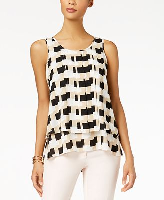 Alfani Printed Pleated-Front Blouse, Created for Macy's