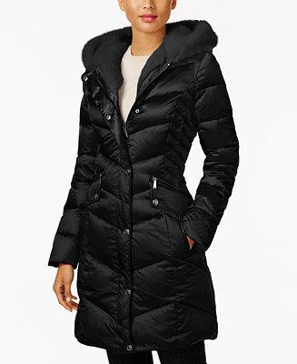 Laundry By Shelli Segal Faux Fur Trim Down Coat Coats