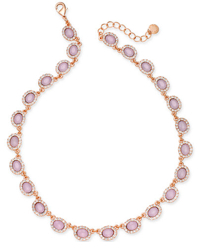 Charter Club Rose Gold-Tone Pavé & Pink Stone Collar Necklace, Created for Macy's