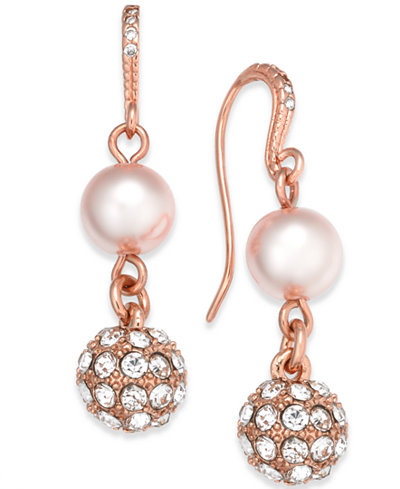 Charter Club Rose Gold-Tone Pavé & Imitation Pearl Double-Drop Earrings, Created for Macy''s