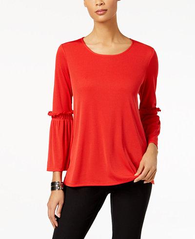 Alfani Rib-Knit Ruffled-Sleeve Top, Created for Macy's