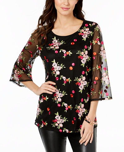 Charter Club Embroidered Mesh Tunic, Created for Macy's