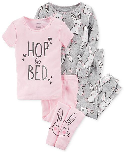 Carter's 4-Pc. Cotton Hop To Bed Bunny Pajama Set, Toddler ...