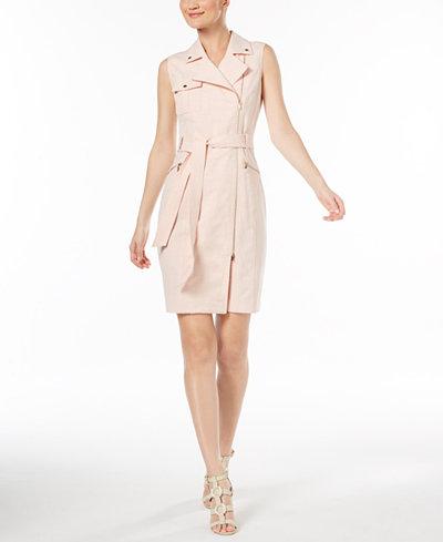Calvin Klein Cross-Dyed Lux Moto Dress, Regular & Petite Sizes