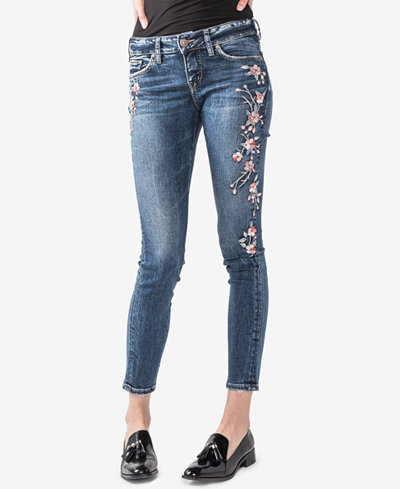 Silver Jeans Co. Juniors' Elyse Curvy Fit Embroidered Skinny Jeans