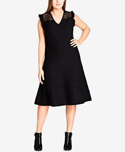 City Chic Trendy Plus Size Mesh-Trim A-Line Dress