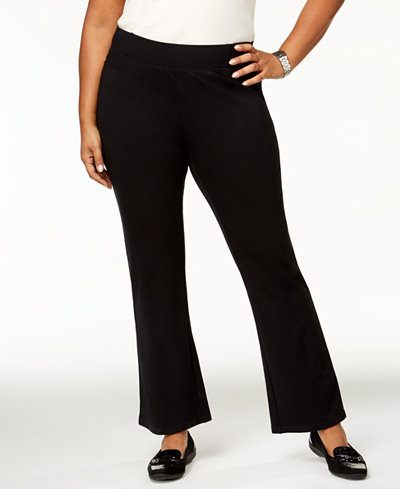 Charter Club Plus Size Terry-Knit Bootcut Pants, Created for Macy's