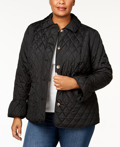 Charter Club Plus Size Quilted Bell-Sleeve Jacket, Created for Macy's