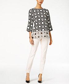 Alfani Printed Layered-Look Tunic & Zip-Pocket Skinny Pants, Created for Macy's