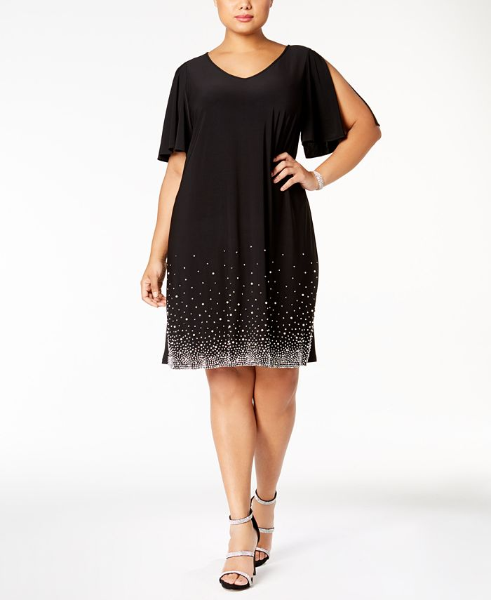 MSK - Plus Size Beaded Shift Dress