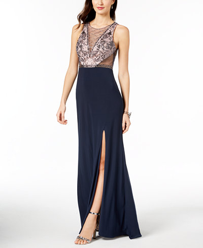 Betsy & Adam Beaded Illusion Gown