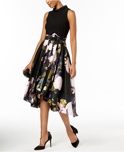 c12fa4e8d78c5 SL Fashions Beaded-Collar Floral-Print Dress - Dresses - Women - Macy s