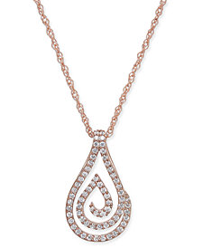 Diamond Spiral Teardrop Pendant Necklace (1/4 ct. t.w.) in 10k Rose Gold