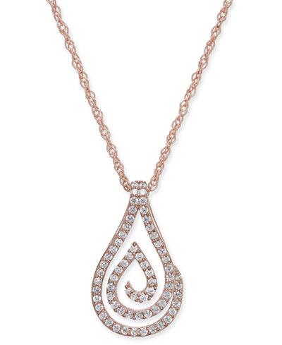 Diamond Spiral Teardrop Pendant Necklace (1/4 ct. t.w.) in 10k Rose Gold