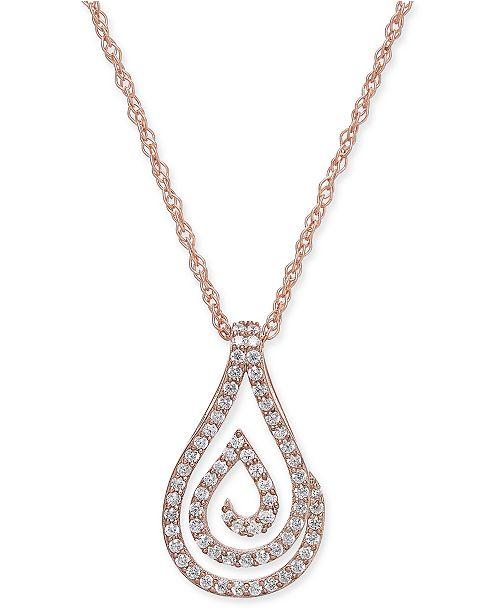 Macy's Diamond Spiral Teardrop Pendant Necklace (1/4 ct. t.w.) in 10k Rose Gold
