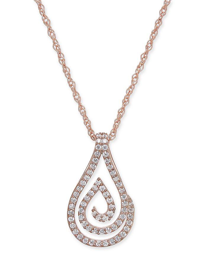 Macy's - Diamond Spiral Teardrop Pendant Necklace (1/4 ct. t.w.) in 10k Rose Gold
