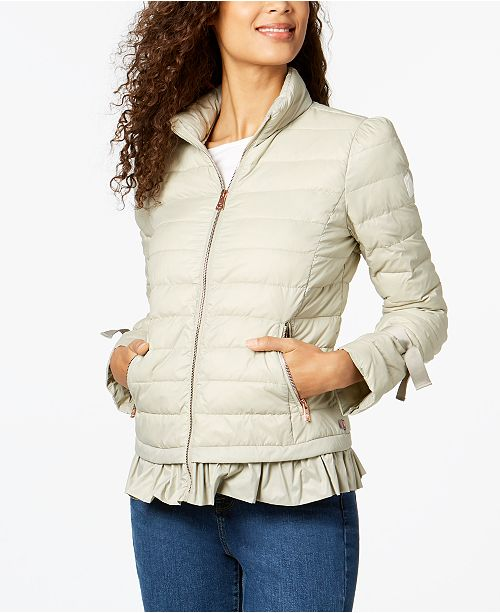 Bernardo Ruffled Packable Puffer Coat