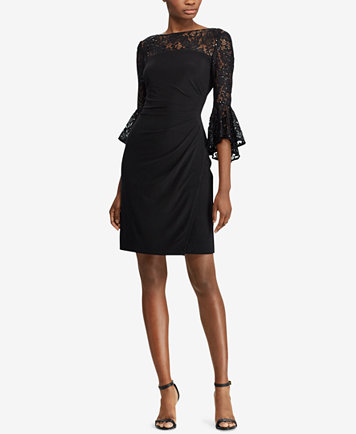 Lauren Ralph Lauren Plus Size Lace-Trim Bell-Sleeve Dress, A Macy\'s  Exclusive Style