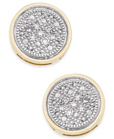 Diamond Accent Button Stud Earrings