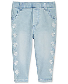 First Impressions Embroidered Pull-On Jeans, Baby Girls, Created for Macy's