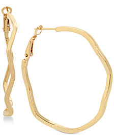 Hint of Gold Wavy Hoop Earrings in Gold-Plate