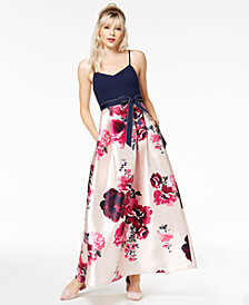 Teeze Me Juniors' Bow-Belt Fit & Flare Gown, Created for Macy's