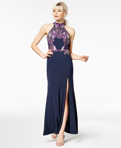 Crystal Doll Juniors' Embroidered Halter Gown, Created for Macy's