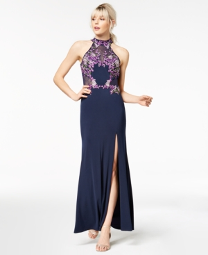 Crystal Doll Juniors Embroidered Halter Gown a Macys Exclusive Style