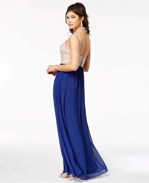 Say Yes to the Prom Juniors\' Embellished Contrast Slit-Skirt Gown ...