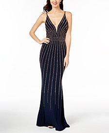 Xscape Beaded V-Neck Gown, Regular & Petite Sizes