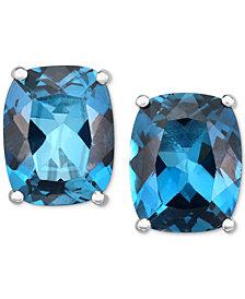 London Blue Topaz Stud Earrings (6 ct. t.w.) in 14k White Gold