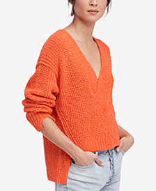 Free People Coco Cotton V-Neck Sweater