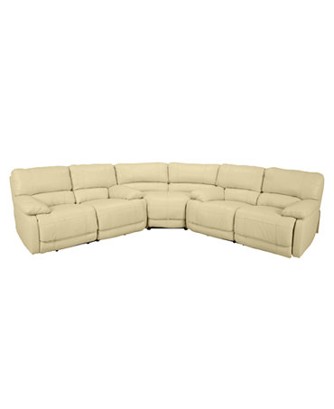 Nina Leather 3 Piece Power Reclining Sectional Sofa 2