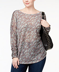 I.N.C. Plus Size Metallic-Camouflage-Top, Created for Macy's