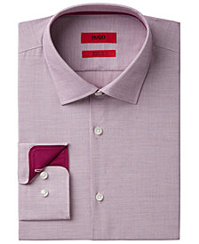 HUGO Men's Fitted Red Micro Check Dress Shirt