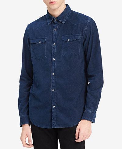 Calvin Klein Jeans Men's Western Indigo Corduroy Shirt