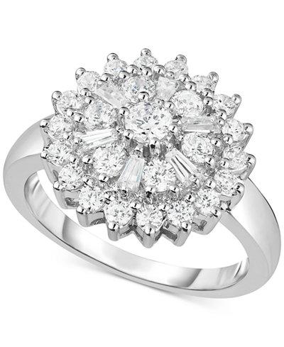 Diamond Flower Cluster Ring (1 ct. t.w.) in 14k White Gold