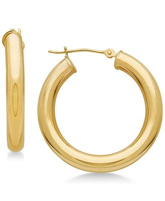 Polished Tube Hoop Earrings in 14k Gold Earrings Jewelry