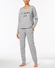 Jenni by Jennifer Moore Brushed-Back Terry Pajama Top & Jogger Pajama Pants Sleep Separates, Created for Macy's